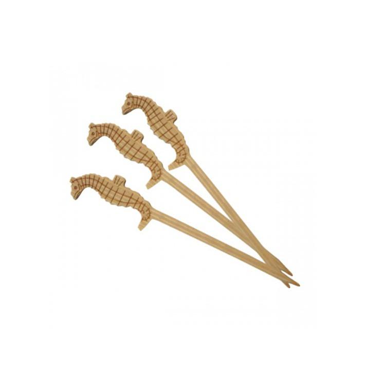Spiedi di Bambu Decorato Ippocampo 90mm (100 Pezzi)