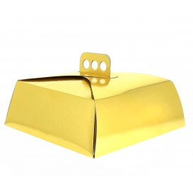 Scatola di Carta per Torte Oro 27x27x10 cm (50 Pezzi)