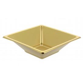 Ciotola Plastica PS Quadrato Oro 12x12cm (5 Pezzi)