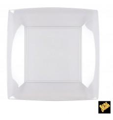 Piatto Plastica Piano Quadrato Trasp. 230mm (25 Pezzi)