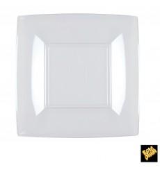 Piatto Plastica Piano Quadrato Rosato 180mm (150 Pezzi)