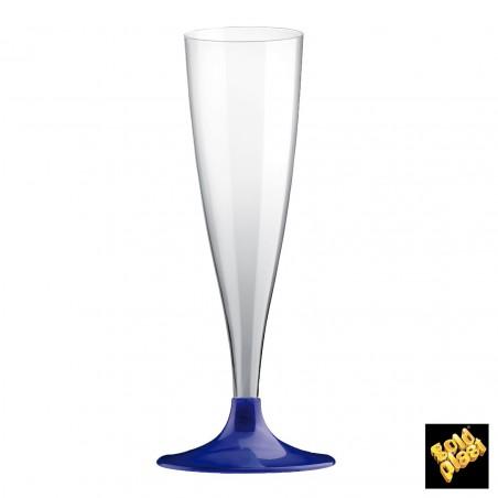 Calice di Plastica Flute Gambo Blu Perlati 140ml (200 Pezzi)