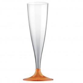Flute di Plastica con Gambo Arancione Transp. 140ml (20 Pezzi)
