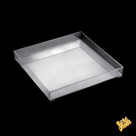 Vassoio di Plastica Tray Trasparente 30x30cm (9 Pezzi)