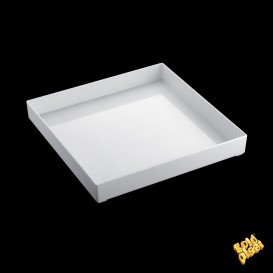 Vassoio di Plastica Tray Bianco 30x30cm (1 Pezzi)