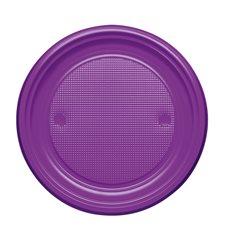 Piatto di Plastica Piano Viola PS 170mm (50 Pezzi)