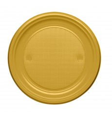 Piatto di Plastica Piano Oro PS 170mm (50 Pezzi)