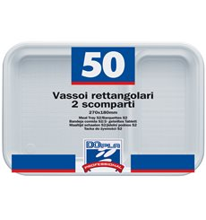Vaschette Bianco 2 Scomparti 270x180mm (50 Pezzi )
