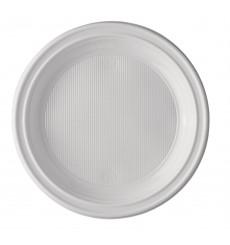 Piatto di Plastica Piano Bianco 220 mm (100 Pezzi)