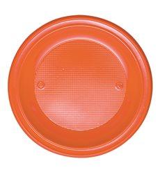 Piatto di Plastica PS Fondo Arancione Ø220mm (30 Pezzi)