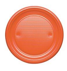 Piatto di Plastica PS Piano Arancione Ø170mm (50 Pezzi)