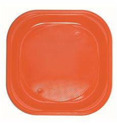 Piatto di Plastica PS Piazza Piano Arancione 200x200mm (720 Pezzi)