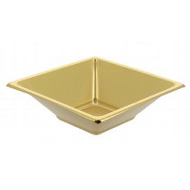 Ciotola Plastica PS Quadrato Oro 12x12cm (25 Pezzi)