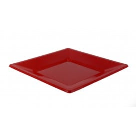 Piatto Plastica Piano Quadrato Rosso 170mm (375 Pezzi)