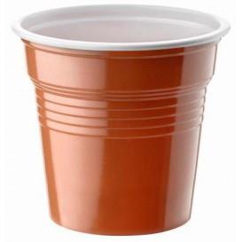 Bicchiere di Plastica PS Bicolor Marrone 80ml Ø5,7cm (50 Pezzi)
