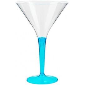 Calice di Plastica Cocktail Gambo Turchese 100 ml (6 Pezzi)