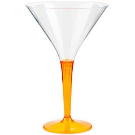 Coppa di Plastica Cocktail con Gambo Arancione 100 ml (6 Pezzi)