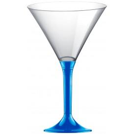 Coppa di Plastica Cocktail con Gambo Blu Mediterraneo 185ml (200 Pezzi)