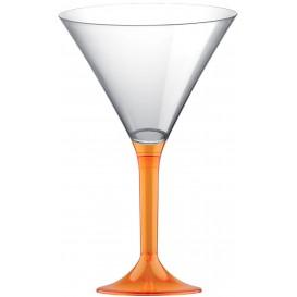 Calice di Plastica Cocktail Gambo Arancio Transp. 185ml (20 Pezzi)