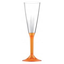 Calice di Plastica Flute Gambo Arancio Transp. 160ml (20 Pezzi)