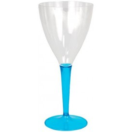 Calice di Plastica Vino Gambo Turchese 130ml (60 Pezzi)