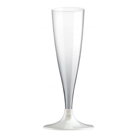 Flute di Plastica con Gambo Bianco Perlato 140ml (20 Pezzi)