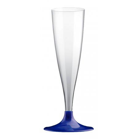 Calice di Plastica Flute Gambo Blu Perlati 140ml (20 Pezzi)