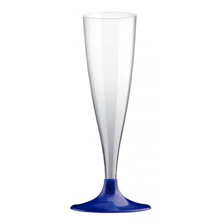 Flute di Plastica con Gambo Blu Perlato 140ml (200 Pezzi)