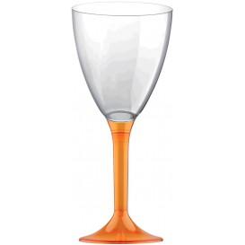 Calice Plastica per Vino Gambo Arancio Transp. 160ml (20 Pezzi)