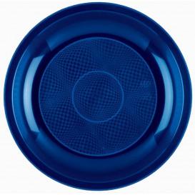Piatto Plastica Piano Blu Round PP Ø220mm (50 Pezzi)