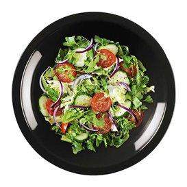 Piatto di Plastica Fondo Nero Round PP Ø195mm (50 Pezzi)