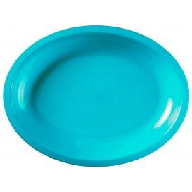 Vassoio Plastica Ovale Turchese Round PP 315x220mm (25 Pezzi)