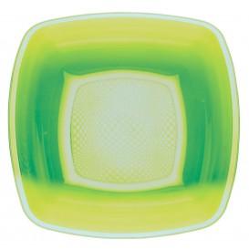 Piatto Plastica Fondo Verde Acido Square PP 180mm (25 Pezzi)