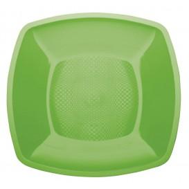 Piatto Plastica Piano Verde Acido Square PP 230mm (25 Pezzi)