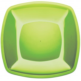 Piatto Plastica Piano Verde Acido Square PS 300mm (12 Pezzi)