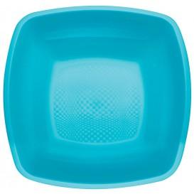 Piatto Plastica Fondo Turchese Square PP 180mm (25 Pezzi)
