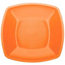 Piatto Plastica Piano Arancione Square PP 230mm (25 Pezzi)