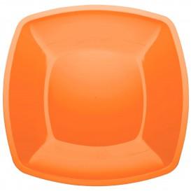 Piatto Plastica Piano Arancione Square PS 300mm (12 Pezzi)
