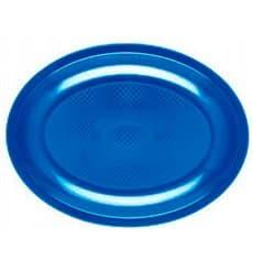 Piatti Plastica Ovali Blu Mediterraneo Round PP 305mm (300 Pezzi)
