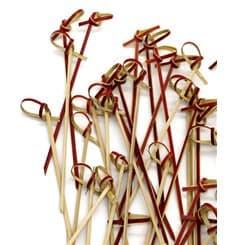 Spiedi di Bambu Decorato Cappio Rosso 150mm (200 Pezzi)