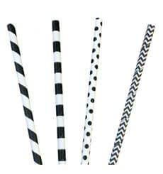 Cannuccia Dritta di Carta Assortimento Nero Ø6mm 200mm (3000 Pezzi)