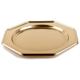 Suttopiatto di Plastica Catering Ottagonali Oro 30 cm (5 Pezzi)