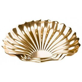 Vassoio di Plastica Catering a Conchiglia Oro 34x30 cm (50 Pezzi)