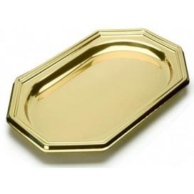 Vassoio di Plastica Ottagonali Oro 46X30 cm (50 Pezzi)