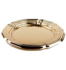 Vassoio di Plastica Catering Rotondo Oro 34 cm (5 Pezzi)