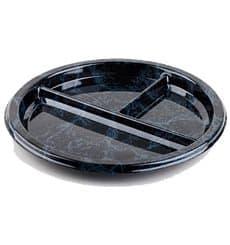 Piatto Plastica Tondo 3 Comparti Marmo 26 cm (25 Pezzi)