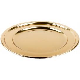 Piatto di Plastica PET Tondo Oro Ø23cm (180 Pezzi)