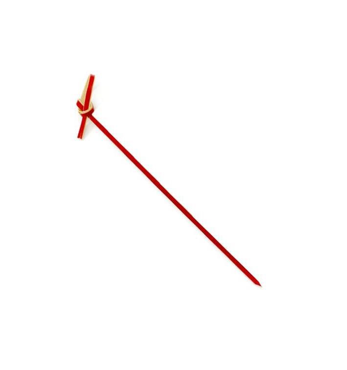 Spiedi di Bambu Decorato Cappio Rosso 90mm (100 Pezzi)