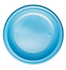 Piatto di Plastica PS Fondo Azzurro Ø220mm (30 Pezzi)