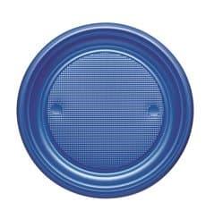 Piatto di Plastica PS Piano Blu Scuro Ø170mm (50 Pezzi)